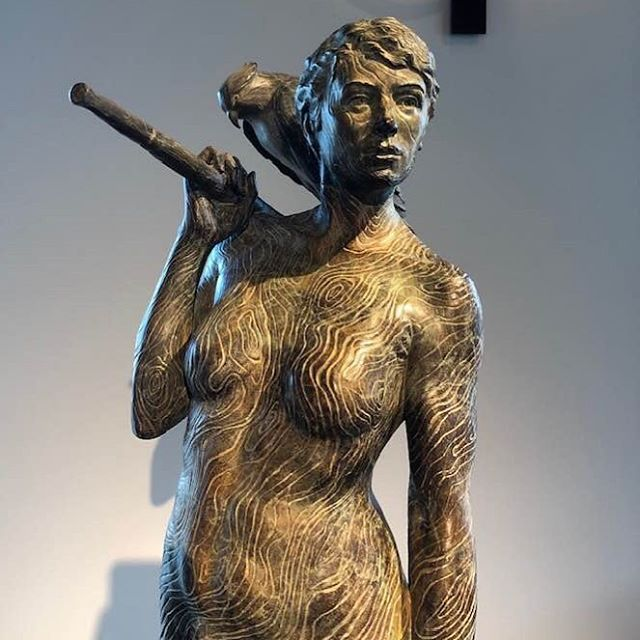 "Rivers & lakes are calling. #ingernovajorgensen ""Oar and The Osprey"" #bronze #topography #skin #trees #patina #strongwomen #speakyourtruth #followyourheart #summertime #artforsale #allroadsleadtolove #upliftwomen #uprising #powerofnature"