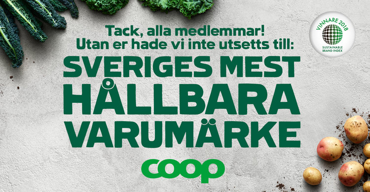 Coop - Sweden's Most Sustainable Brand According to Consumers in 2018 (Sustainable Brand Index, 2018)
