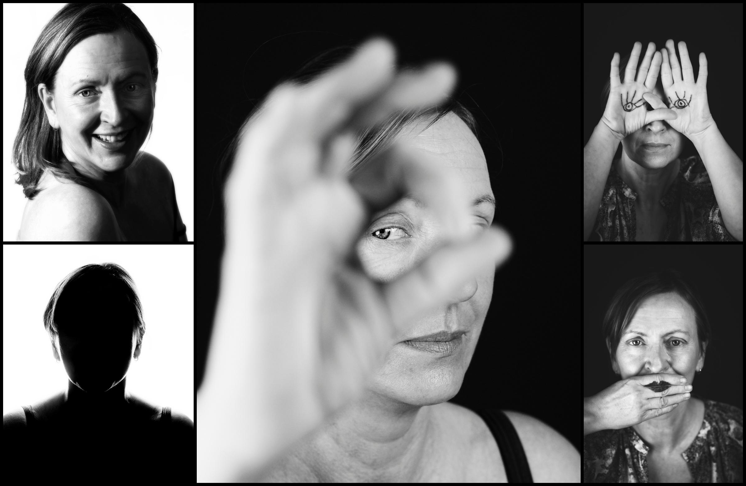 kreativt porträtt svartvitt kvinna fotograf skåne höör