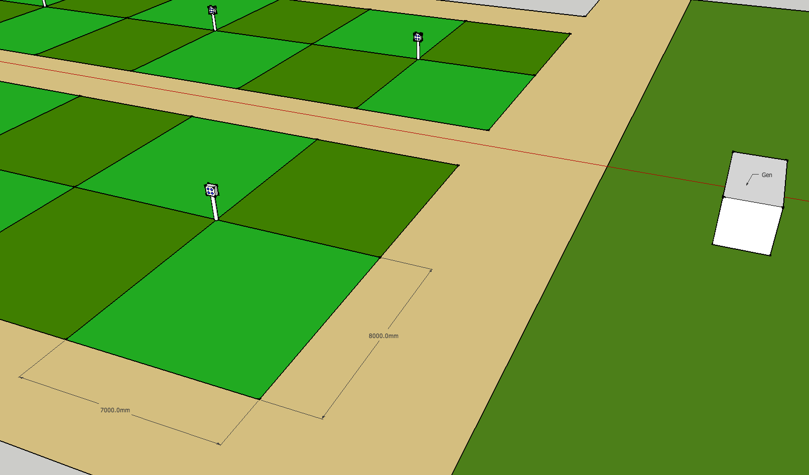 Standard electric pitches are 7 x 8m  The electric box you need to connect to is the centre of four pitches Your 'camp' must fit within your 7 x 8m pitch
