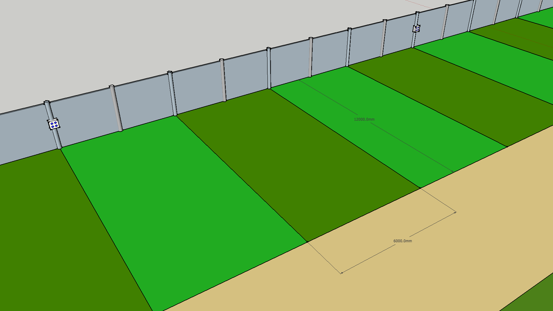 Large electric pitches are 6 x 12m  The electric box you need to connect to is a maximum of two pitches away Your 'camp' must fit within your 6 x 12m pitch