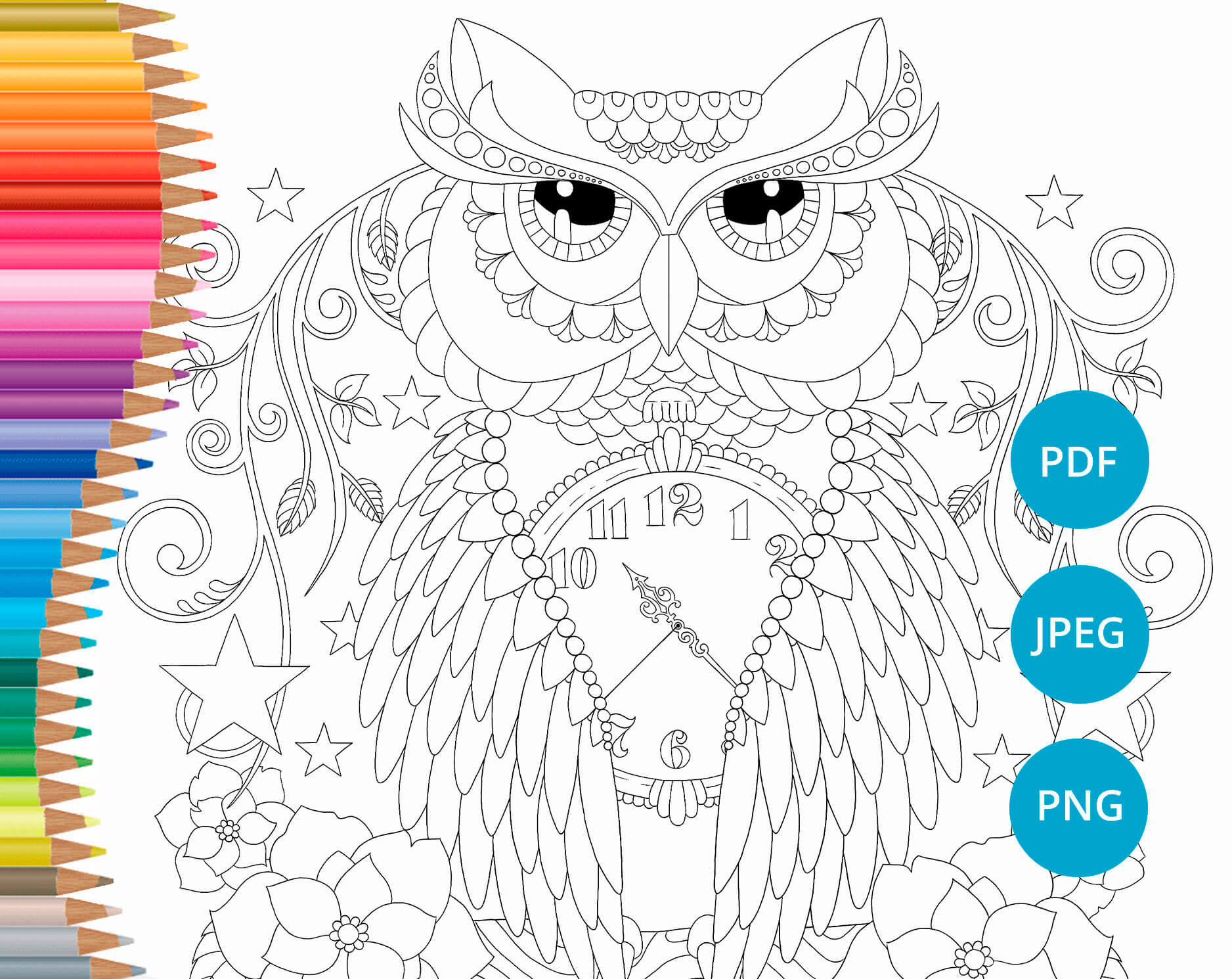 Ornate Owl , taken from   Doodles from The Den   colouring book (Available in my  Etsy store )