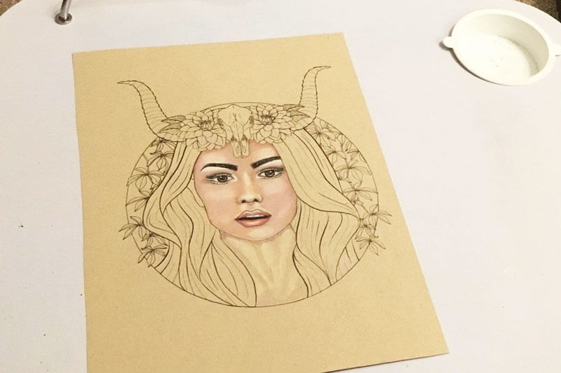 Colouring page is the  Taurus Girl , available as part of the   Faces of the Zodiac   adult colouring book.