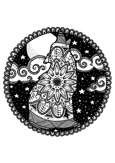 Midnight Mandala Wolf