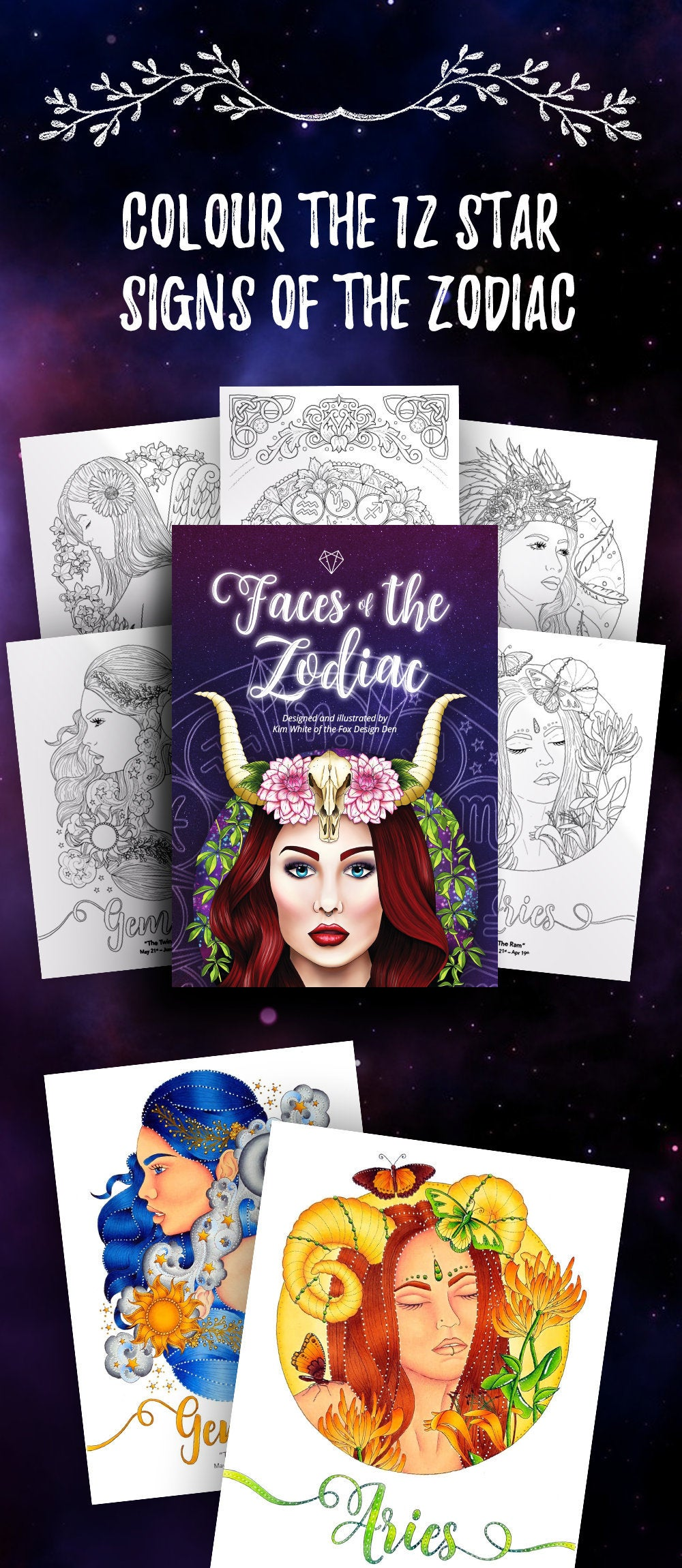 Digital edition of my second colouring book release,   Faces of the Zodiac