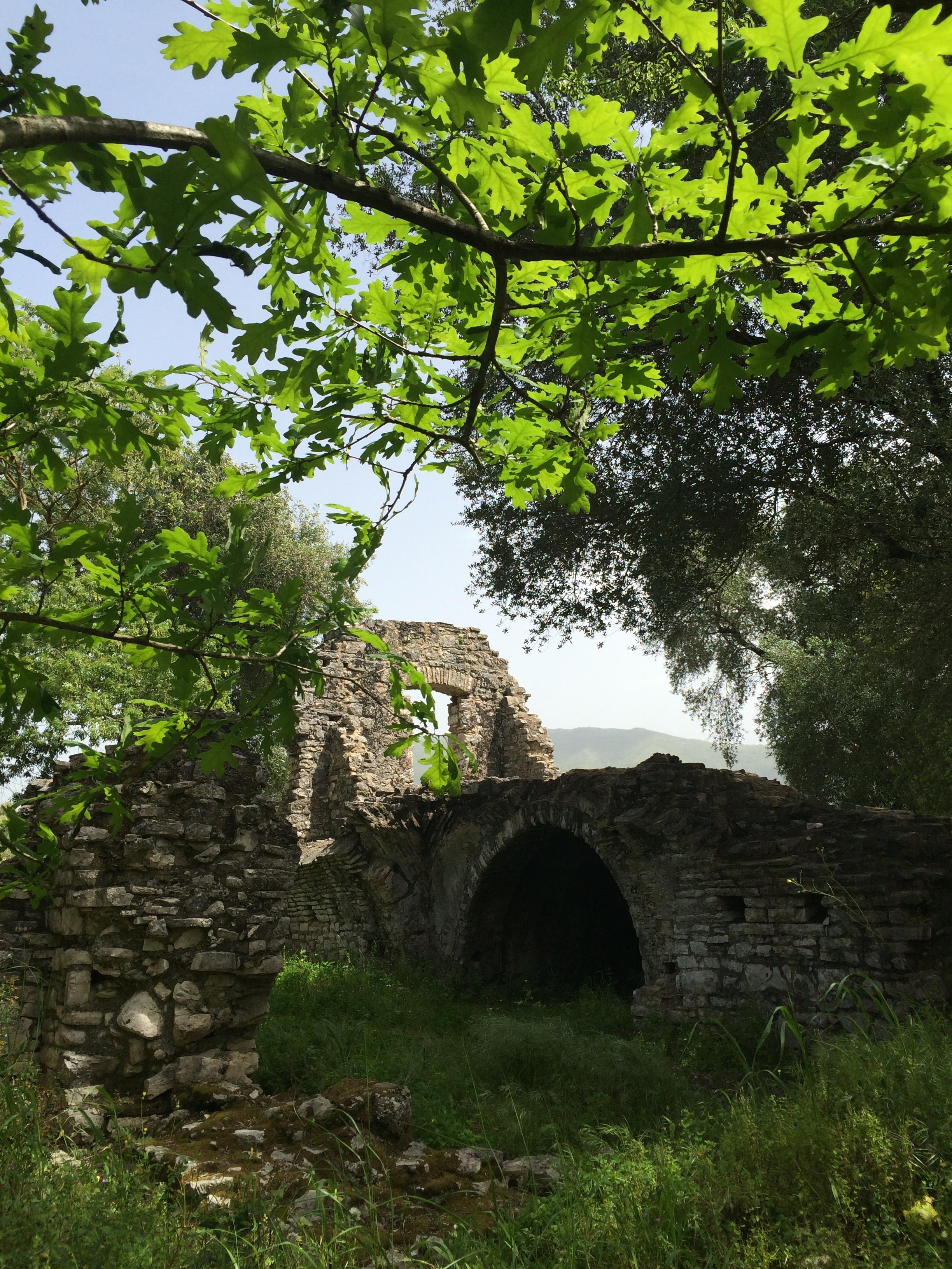 Vanha siltarakennuksen alku ylittämässä vesistöä. Kuva: Mirva Rannisto