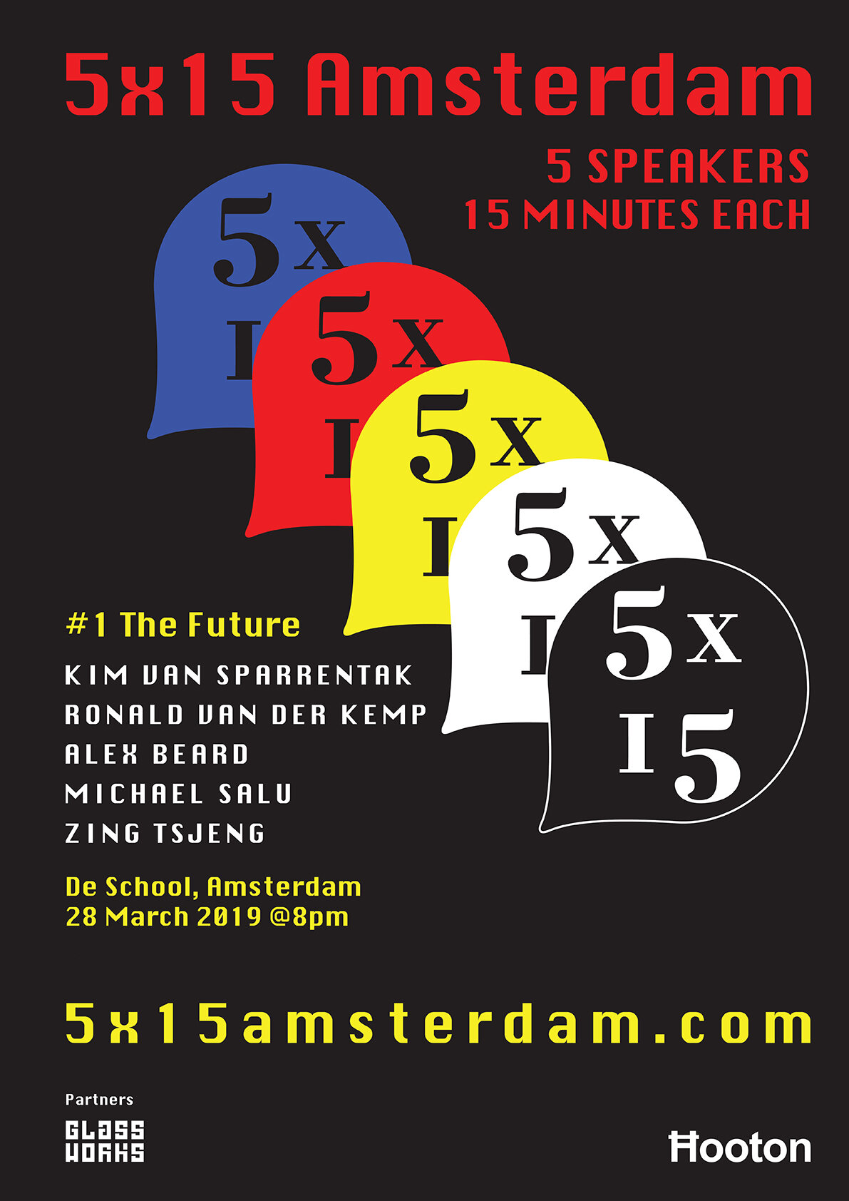 5x15 Amsterdam #1: The Future - 5x15 Amsterdam launched on the 28th March 2019 at De School with an evening of stimulating stories and ideas around our inaugural theme: The Future. Featuring talks from Ronald van der Kemp (The world's first sustainable couture designer), Zing Tsjeng (Broadly UK editor and author), Kim Van Sparrentak (Member of European Parliament and climate activist), Alex Beard (author 'Natural Born Learners') and Michael Salu (writer, artist and critic). The evening was introduced by journalist Mark Smith (Fantastic Man, The Guardian, The Times) and the American Book Centre sold books from our speakers during the event.Read more about the event here.