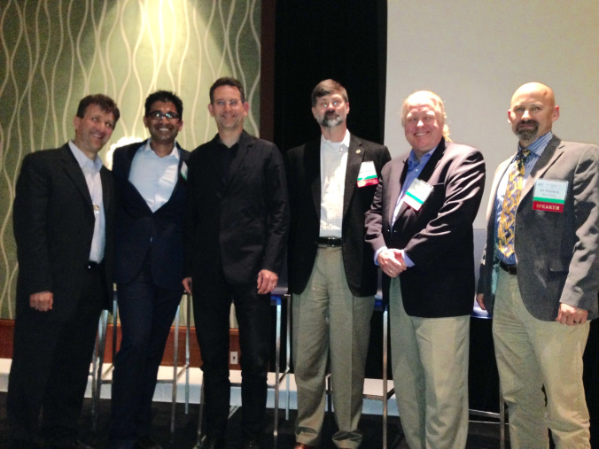 Medical Informatics World 2015 Final Panel. From left: Eric Glazer, Gowtham Rao, John Halamka, Stephen Warren, Jason Burke, and J.D. Whitlock. Image courtesy of Cambridge Healthtech Institute.