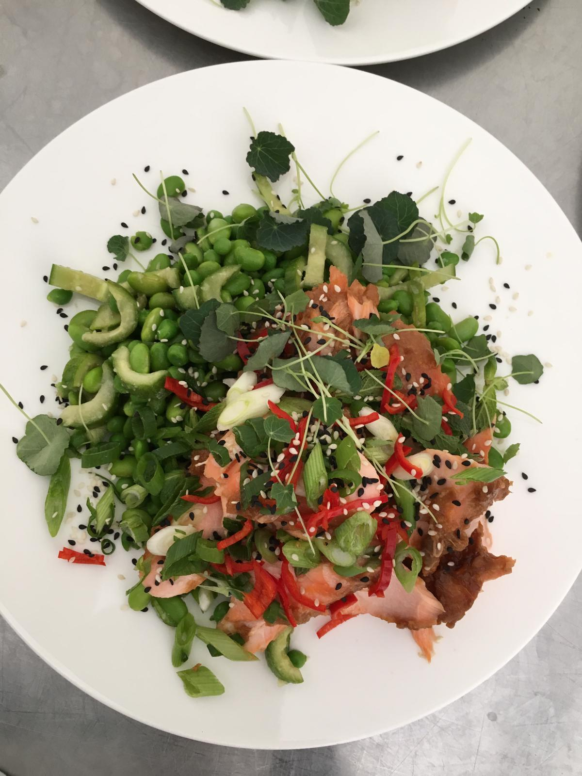 The Hill Food Company hot smoked salmon, greens plated main.jpg