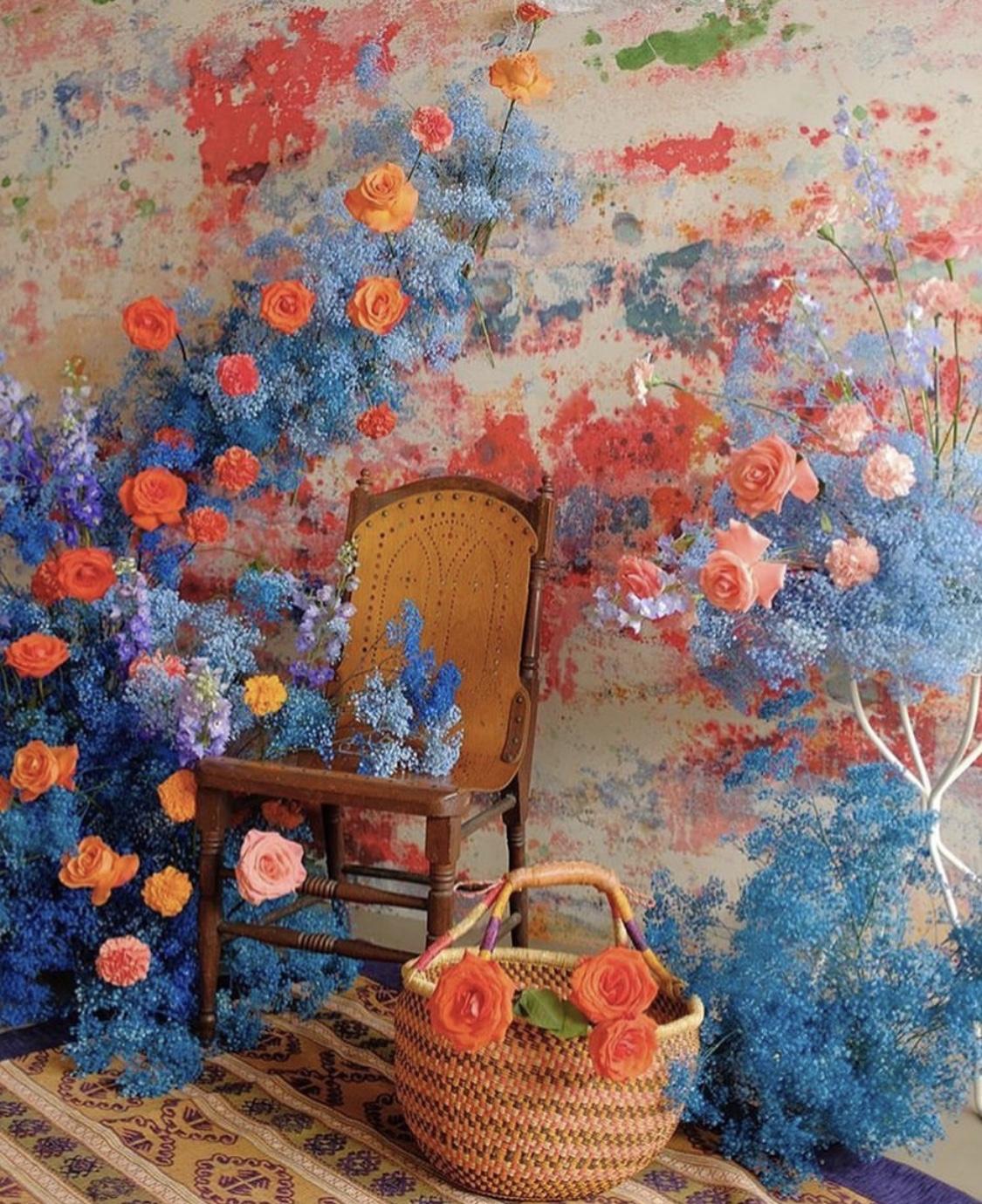 set design collaboration with texture florals