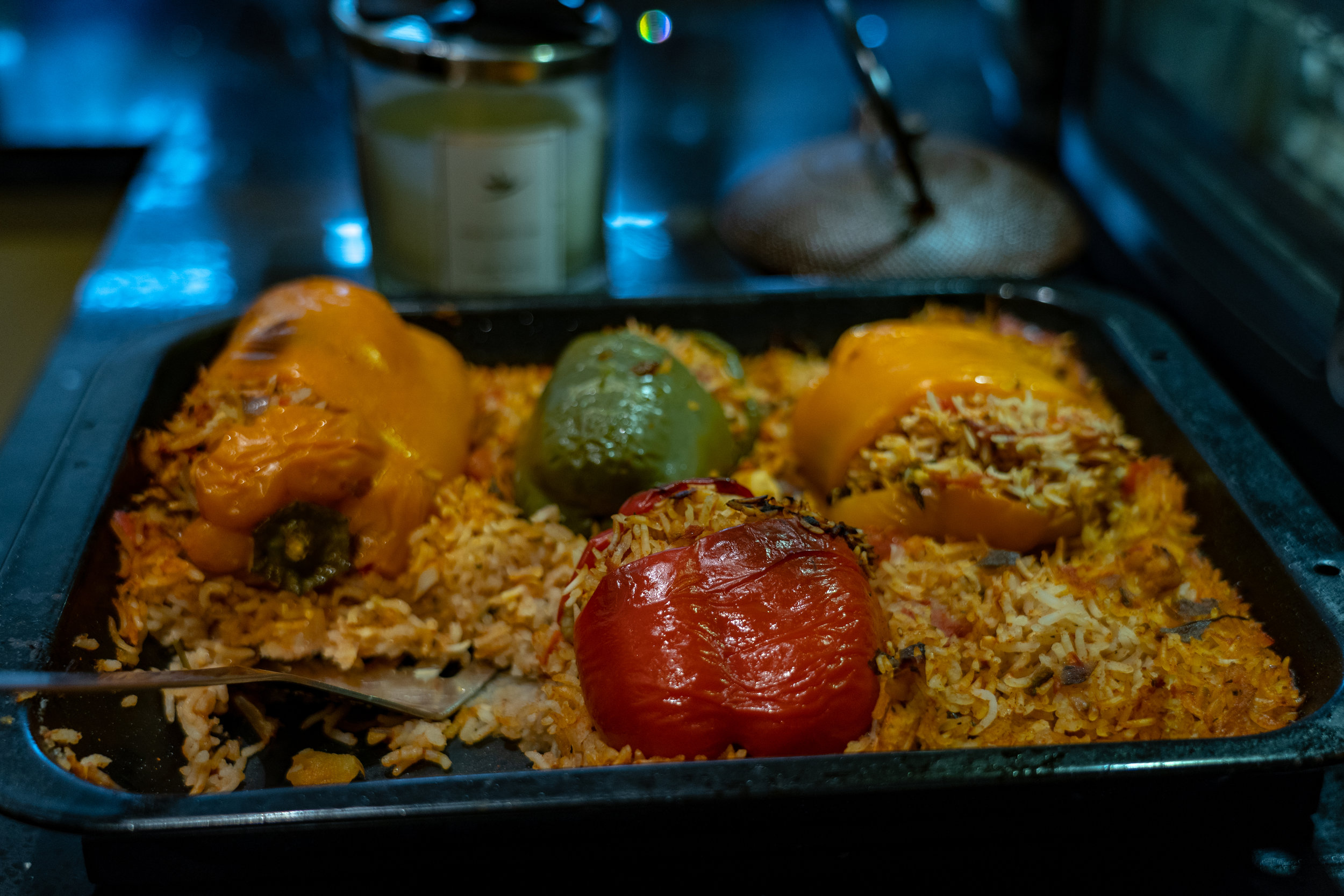 Stuffed peppers can be modified to suit several diets, try them with Quorn chicken pieces for vegetarian visitors. Photography by Alexander Wenk.
