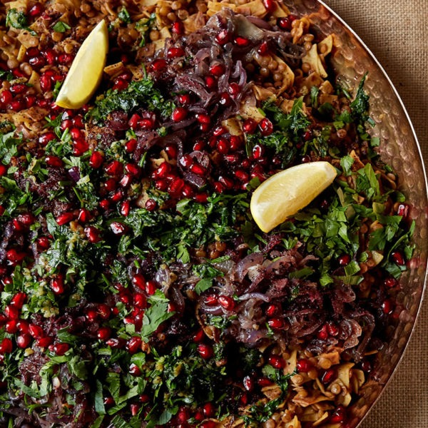 Harak osbao – lentils and pasta with tamarind, sumac and pomegranate, dish created by Yotam Ottolenghi and Sami Tamimi, courtesy of  Cook for Syria . Photography by Patricia Niven.
