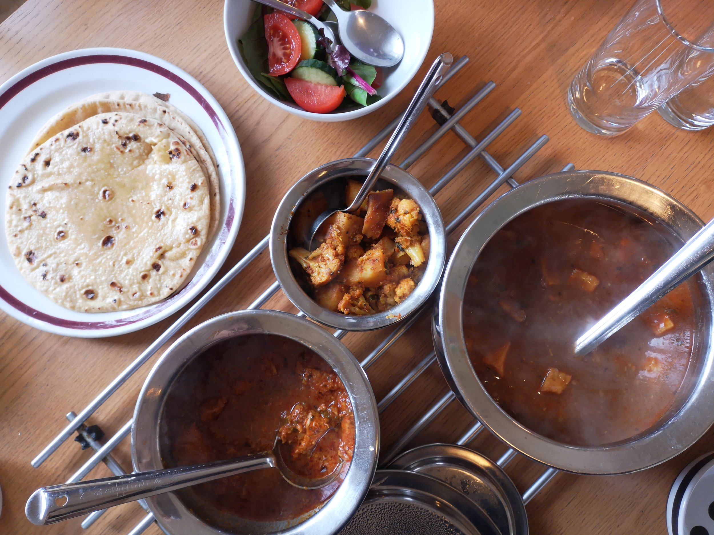Brij normally serves chicken curry with a couple of other dishes such as aloo gobi and dahl