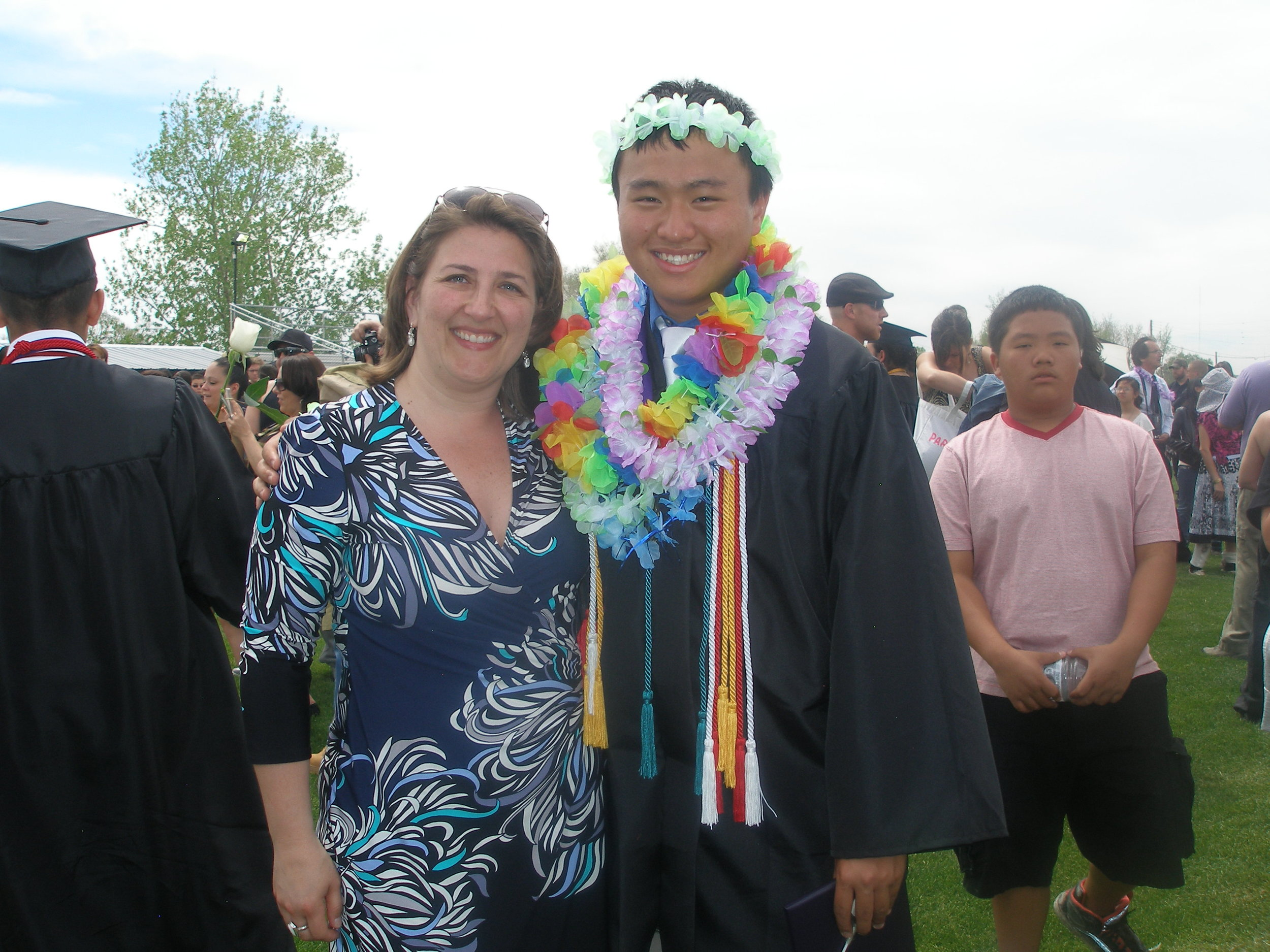 With former student - who's gotten tall! - on graduation day