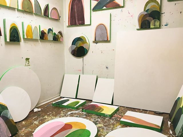 Saturday (early) morning studio shot. Lots of #wip . . #inthestudio #toaf19 #acryliconpanel #canadianpainter #torontopainter #abstractlandscape