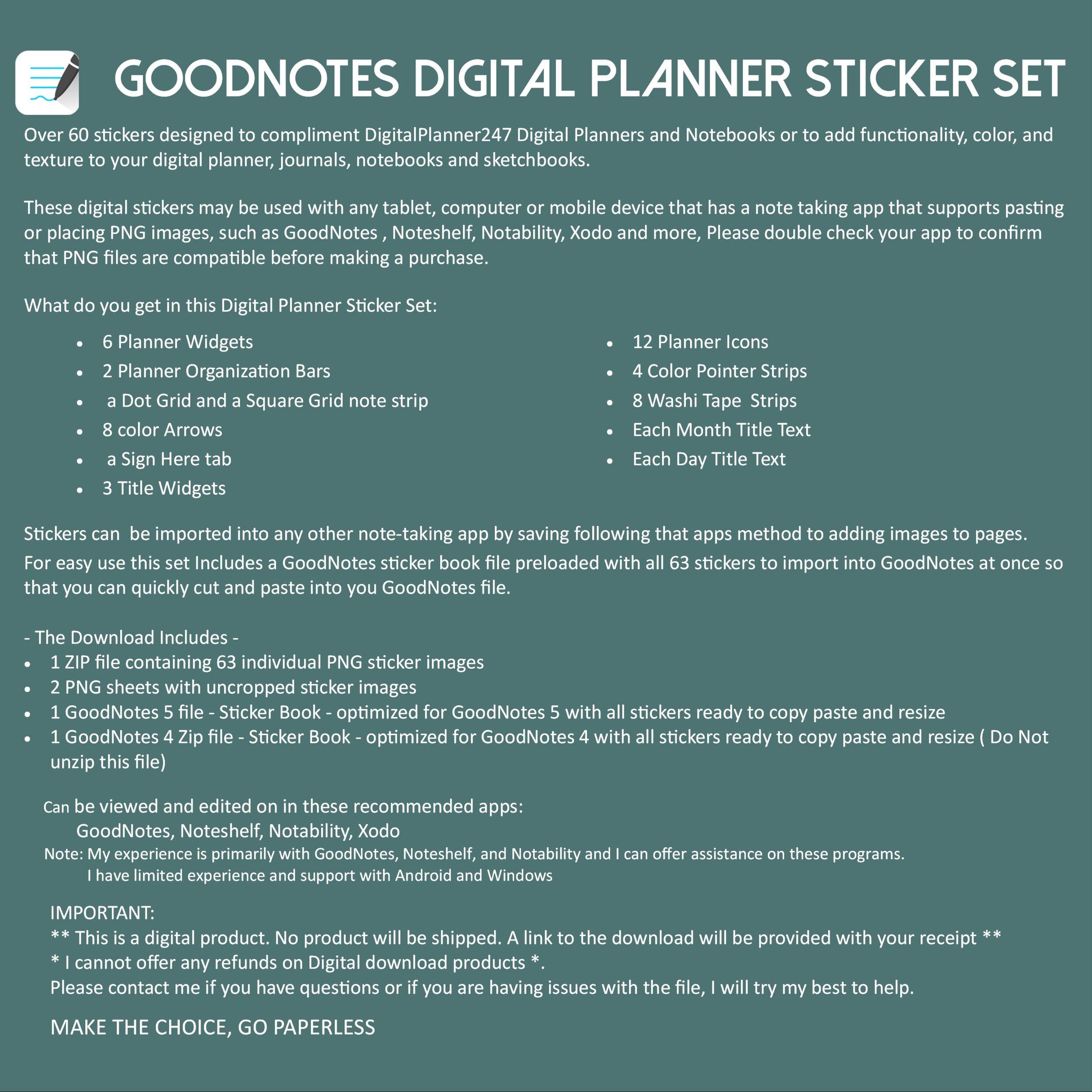 Digital Sticky Notes Digital Notebook Digital Planner Sticky Note Digital Planner Stickers Digital Sticker Book GoodNotes Stickers