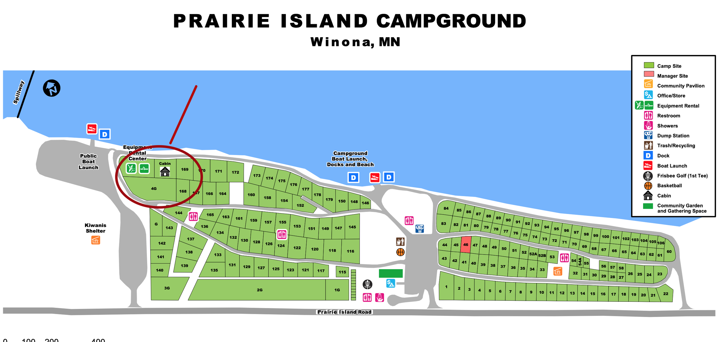 Our spaces are circled. We have Tent Sites 168, 169 and 4G Group Site.  Download Map