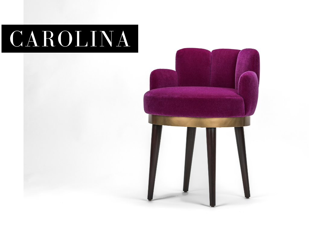 "VANITY CHAIR - _Carolina Otero, the mistress of Edward VII, was known for her coveted voluptuous shape. The Carolina vanity chair with its graceful, full curves will make you feel like you're his one true queen.18""w x 20""d x 30""h *"