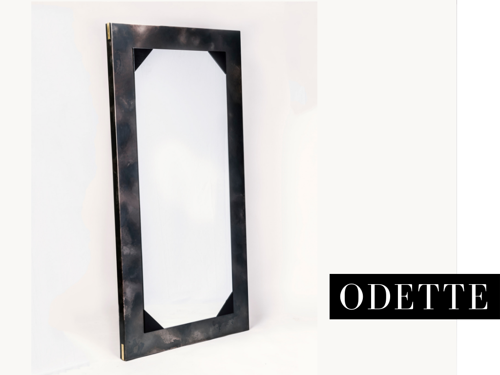 "MIRROR - _Odette de Champdivers, mistress to the ""mad king"" Charles VI, often contended with his paranoid delusions and schizophrenia, as when he believed he was made out of glass. Our Odette mirror will have you wondering who's staring back at you.42""w x 2.5""d x 84""h *"