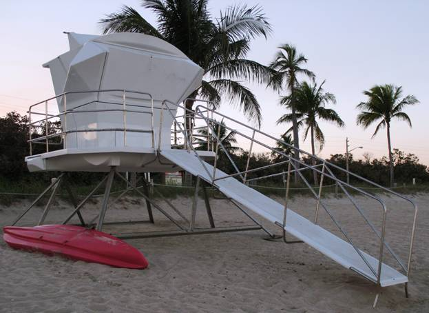 Surveyor APEX Lifeguard Tower, Fort Lauderdale, Florida with Hurricane-Resistant Windows in closed position