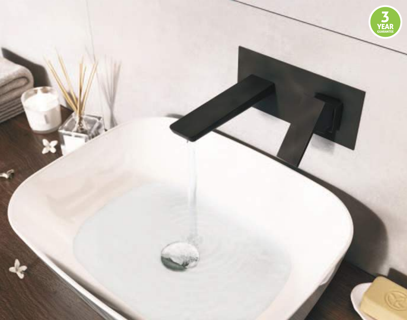 Zane Black Wall Mounted Basin Mono
