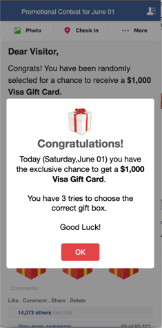 Spoiling the party: there's never a gift card at the end of these click scams