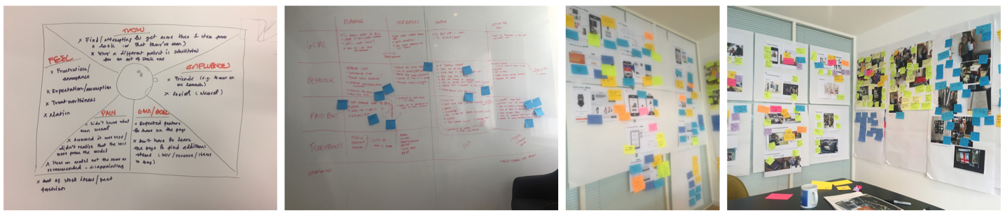L-R: Empathy map and user journey mapping as part of a pioneering behavioural study piece with New Look customers