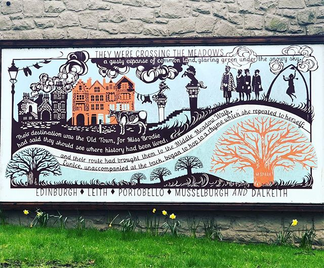A mural on the #meadows in #edinburgh.  It celebrates the Edinburgh born author #murielspark and her novel #theprimeofmissjeanbrodie .  In only 170 pages she captures the essence of Edinburgh and its private schools.  Who can forget #Oscar winning #maggiesmith in the 1969 movie. #movies #movielocations #travelblogger #travel #thisisedinburgh #scotlandlover #ilovescotland #guidedtours #bluebadgetouristguide #bookstagram #ilovereading
