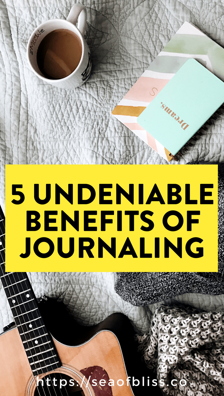 You've probably heard of the benefits of journaling. Here's 5 benefits of journaling that I've seen over the years. Click to read | #seaofbliss #journaling #journalingprompts #personalgrowth #reflection