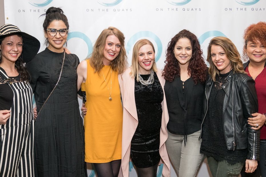 The filmmakers with Nicola Murphy at 2018 Quay Players