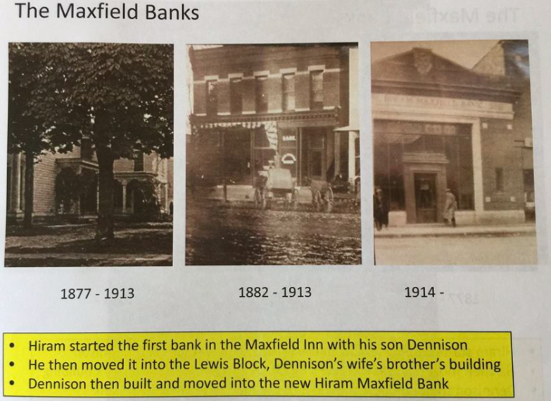 - The first bank in Naples was off the porch at the Maxfield residence. Soon after Dennison and his wife moved in, it was decided that the bank needed to move out into the Lewis Block across and down the street. The room is a kitchen today, but the bank door and old door bell are still there.Sten and Ulla Persson bought the house from the Maxfields after the house had been in the Maxfield family for 126 years. The Perssons installed a Swedish kitchen with one of the first microwave ovens in the 1970s.The Community Bank on Main Street is the former Maxfield Bank (photograph #3). This bank was one of the few that made it through the Great Depression. This was attributed to the wonderful character and complete trust of the Maxfields.