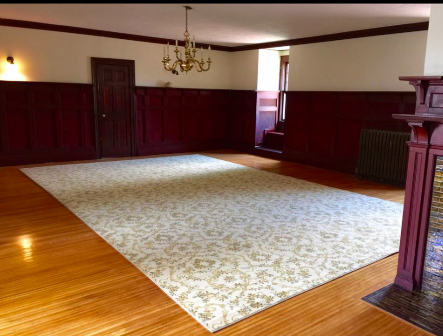 - There is a ball room on the third floor. Just preparing the floor for sanding took a weeks work.Wayne found the old wall paper that used to adorn this room on the walls in the closet. He is working on a way to get it copied so that the room again can look like it used to.