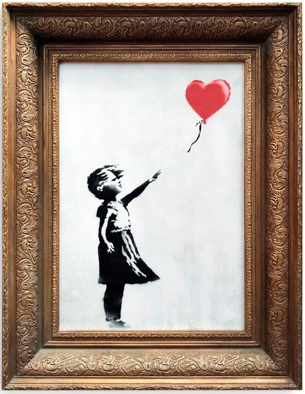 "Caption: ""Girl with Balloon"" (pre-shredding), photo courtesy of The Independent"