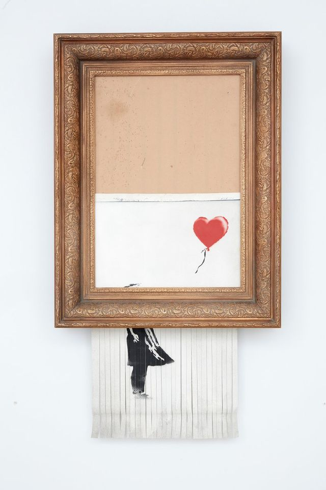 "Caption: ""Love is in the Bin"" (post-shredding), photo courtesy of Sotheby's"