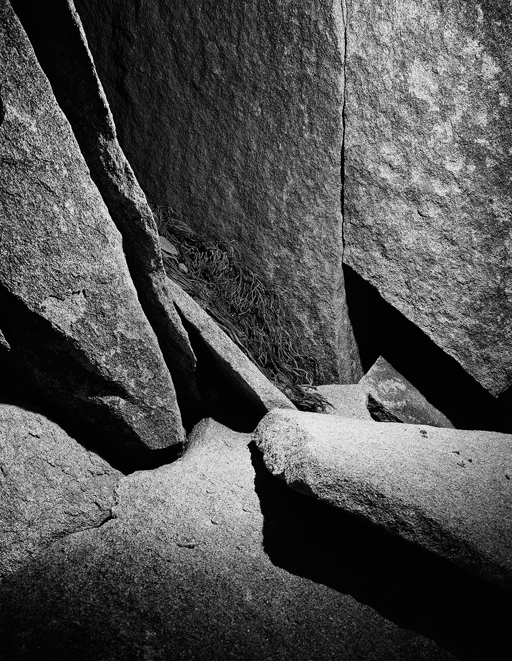 Joshua Tree - The graphic compositions of the Joshua Tree desert rocks illuminated by strobe light to make abstract shapes.