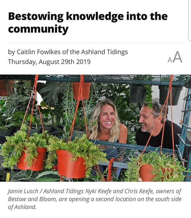 Check out this awesome article in the Daily Tidings by Caitlin Fowlkes, about us!! 🌵😍🥰🙌🌿 https://ashlandtidings.com/news/top-stories/how-an-ashland-business-helps-the-community . . . . #plantcommunity #sobestow #skillshare #beastow #newshop #southside #plantsandmore