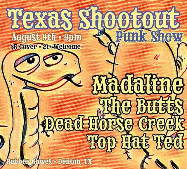 Just under a week til we ride into Denton n blow the roof off @rgrsdentontx w/ @madalineska @thebuttsatx & Top Hat Ted . . . . #dentontxmusic #rubberglovesrehearsalstudios #madalineska #tophatted #thebutts #texaslivemusic #rgrs #dentonmusic