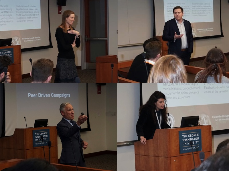 From top: Monika Bickert, Vice President for Global Policy Management and Counterterrorism, Facebook; Seamus Hughes, Deputy Director, Program on Extremism, George Washington University; Tony Sgro, Founder and CEO, EdVenture Partners; Paige Blair, Project Specialist, EdVenture Partners