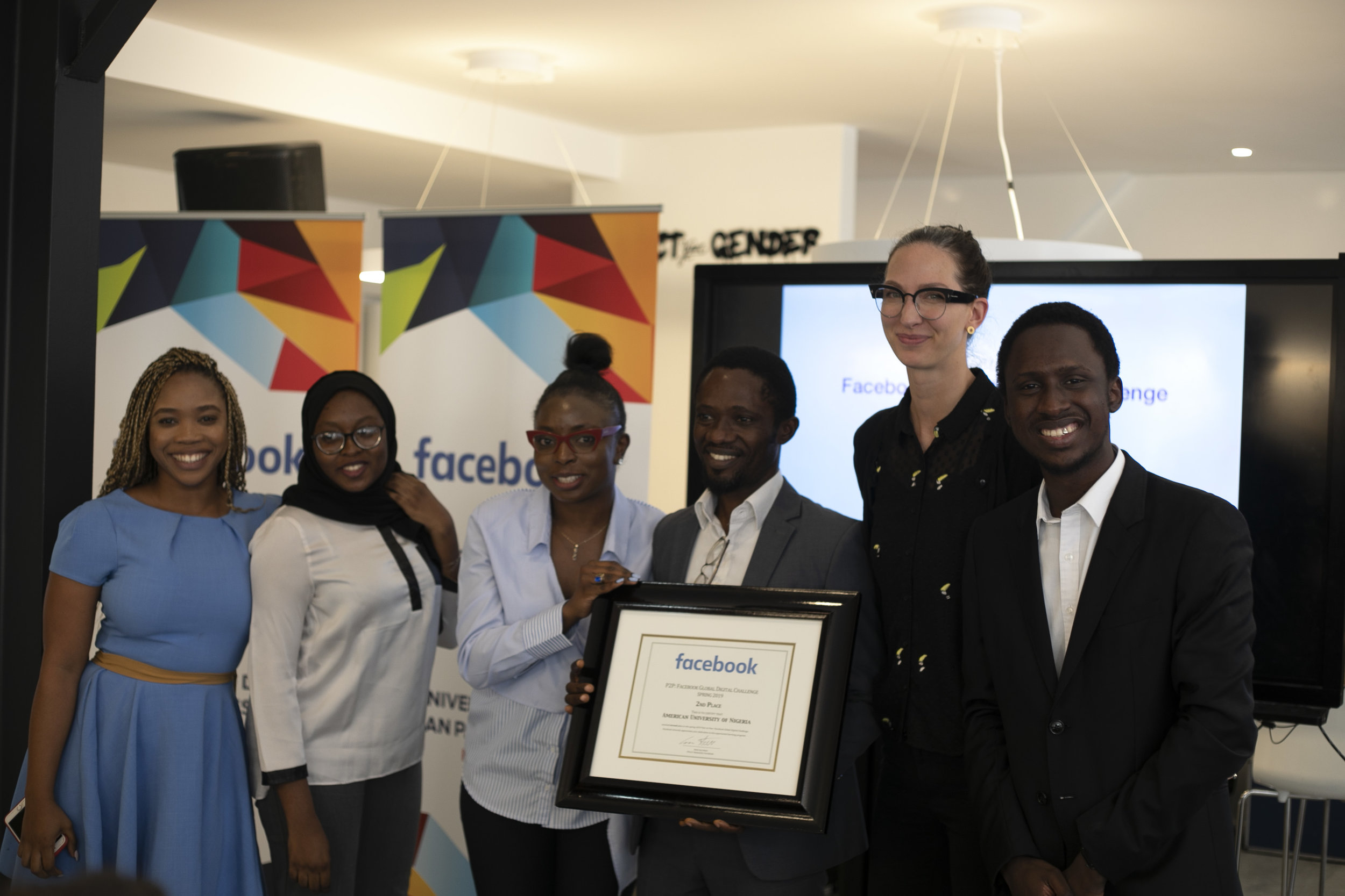 2nd Place: American University of Nigeria, Nigeria (Pictured with Erin Saltman, Policy Manager of Facebook)  Photo Credit: MolenGeek
