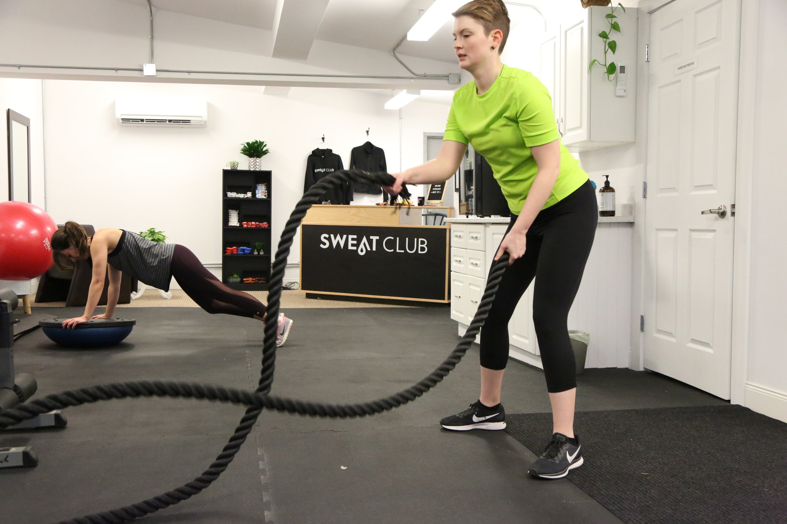 SWEAT + SHRED - The focus of this class is cardio and core but be ready for full body movements. Get ready to sweat in this circuit style class. 45 minutes at lunch and 55 minutes in the evenings. All levels welcome.