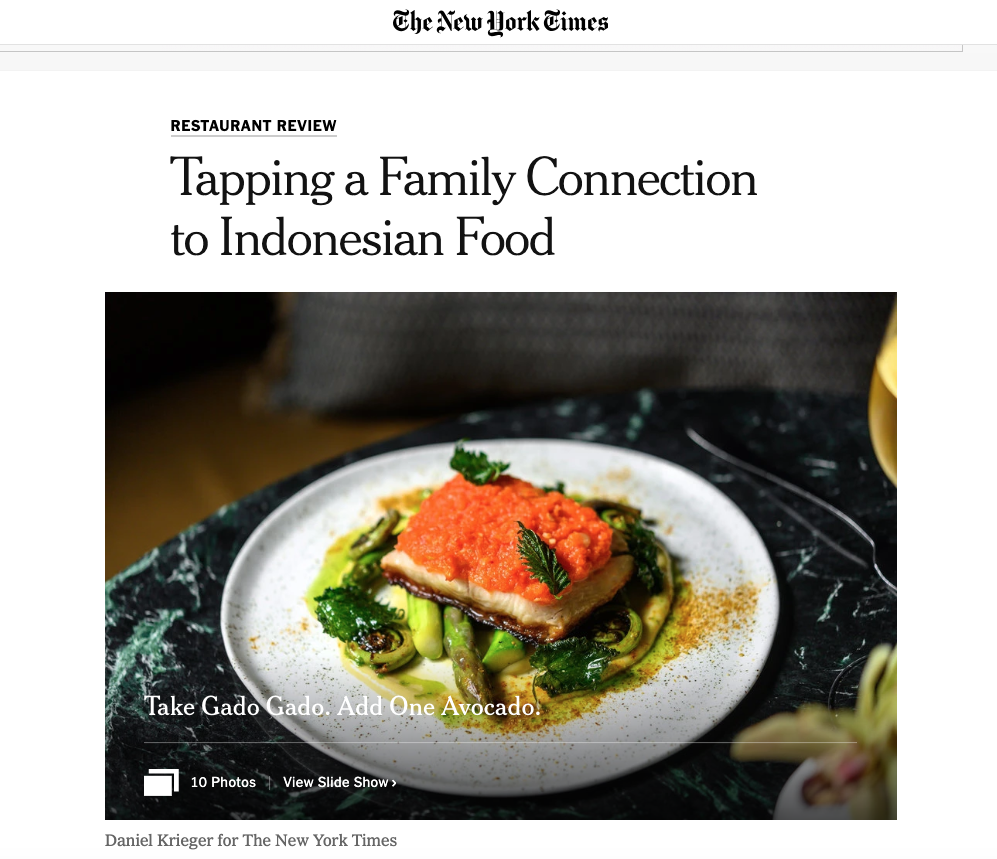 New York Times  Aquna Murray Cod (pictured) features in the  New York Times review of Wayan , a restaurant by Cédric Vongerichten (April 23, 2019)