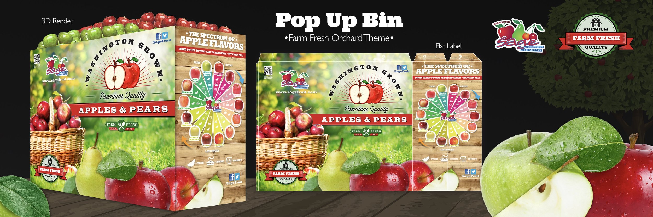 In-Store Point-of-Sales display design for Sage Fruit Company.