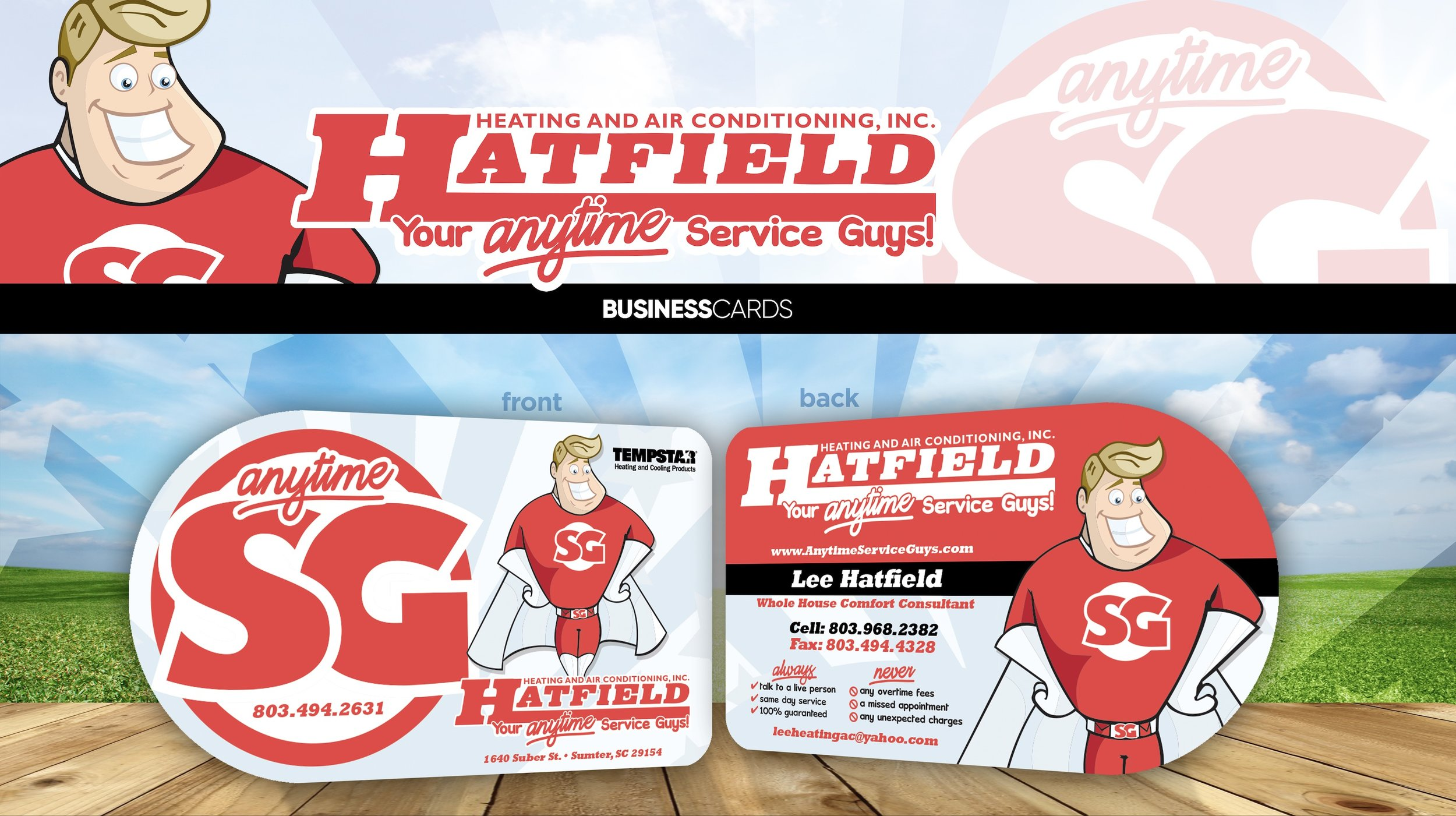 Business card project for Hatfield Heating and Air Conditioning Inc. Cards were printed on 16pt UV High Gloss cardstock with custom die cutting.