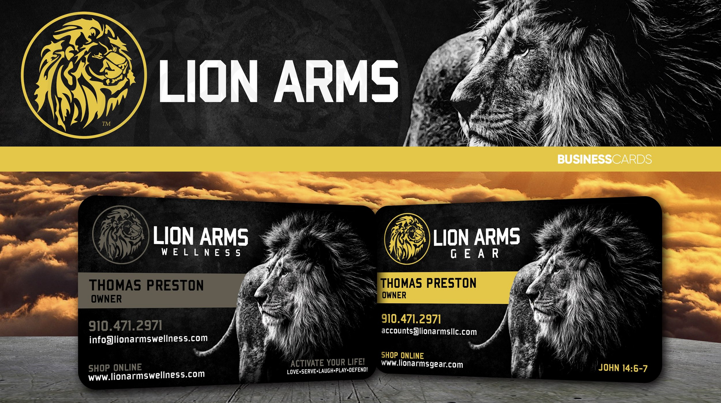 Business card project for Lion Arms, LLC. Cards were printed on 16pt Velvet cardstock with rounded corners.