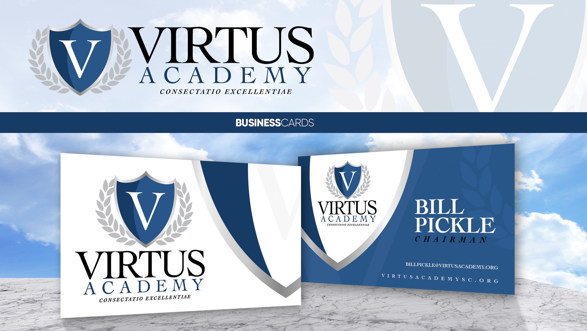Concept business card design for Virtus Academy. We designed this logo as well.