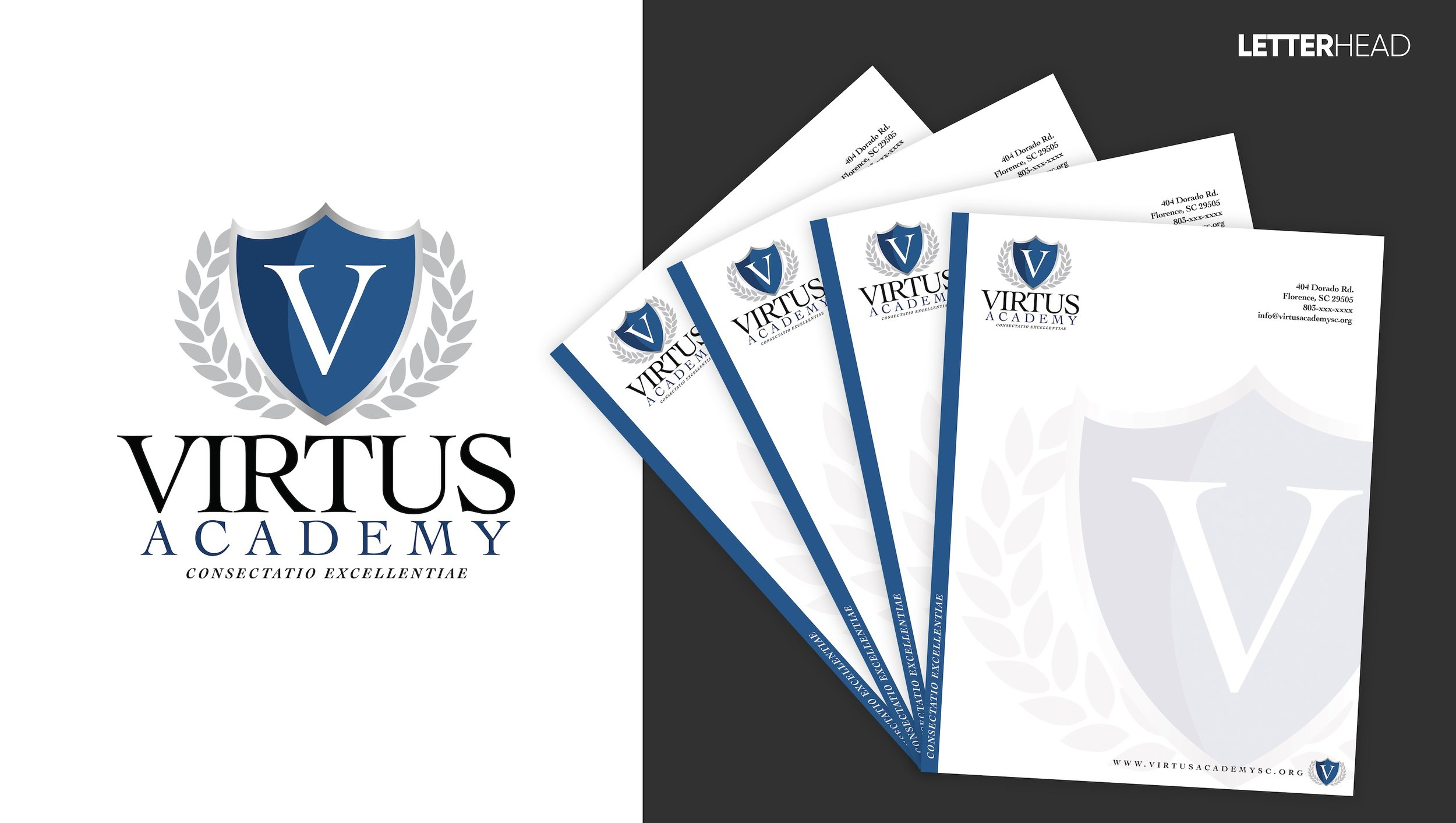 Concept letterhead design for Virtus Academy. We designed the logo here as well.