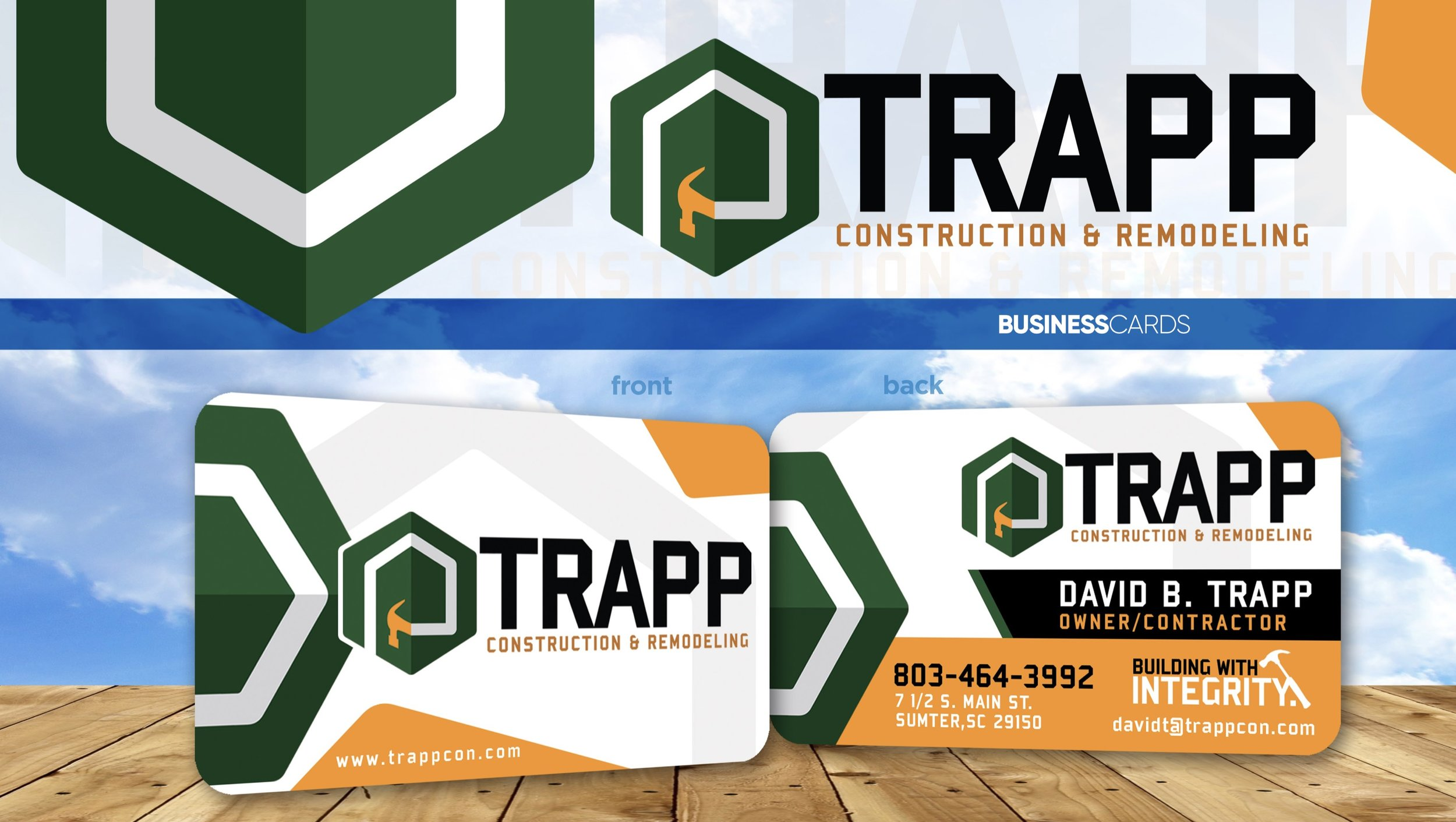 Business card design for Trapp Construction. We designed the logo for this as well and printed them on 16pt UV high gloss with rounded corners.