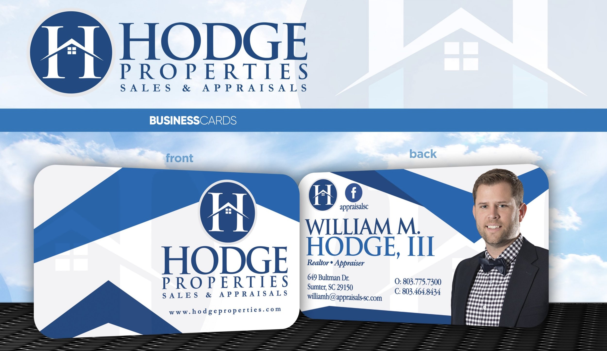 Business card and logo design for Hodge Properties. We printed them on 16pt UV high gloss with rounded corners.