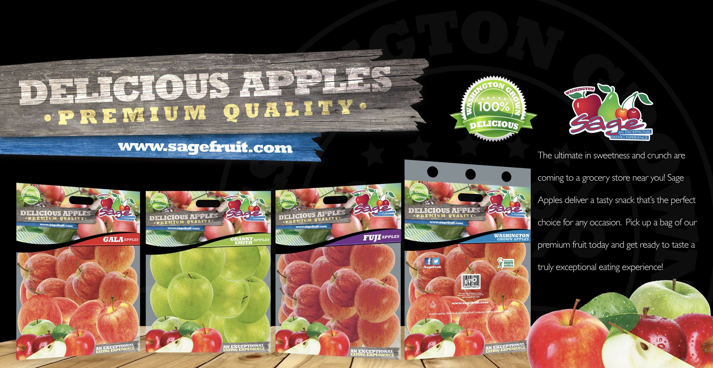 Packaging design or Sage Fruit Company. These were 5lb apple bags and can be found in a local grocery store near you.